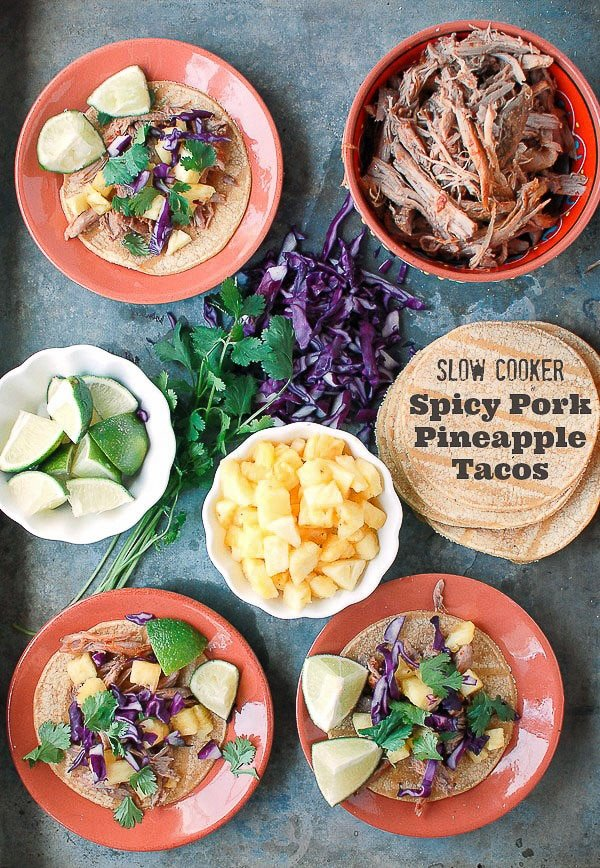 No Oven Dinner Recipes Slow Cooker Spicy Pork Pineapple Tacos - BoulderLocavore.com