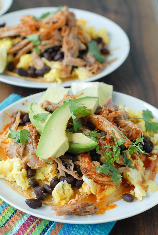 Spicy Shredded Pork Breakfast Tostadas 1 - BoulderLocavore.com
