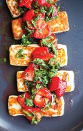 Grilled Halloumi with Strawberries and Herbs from Vibrant Food cookbook {giveaway}