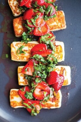 Vibrant Food   Grilled Halloumi with Strawberries and Herbs