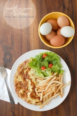 French Ham and Cheese Omelet with farm eggs