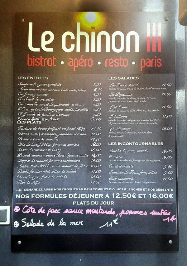 Le Chinon 3 Paris Marais menu - BoulderLocavore.com