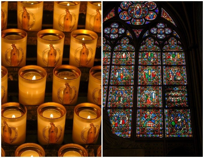 Notre Dame Cathedral Paris prayer candles stained glass window - BoulderLocavore.com