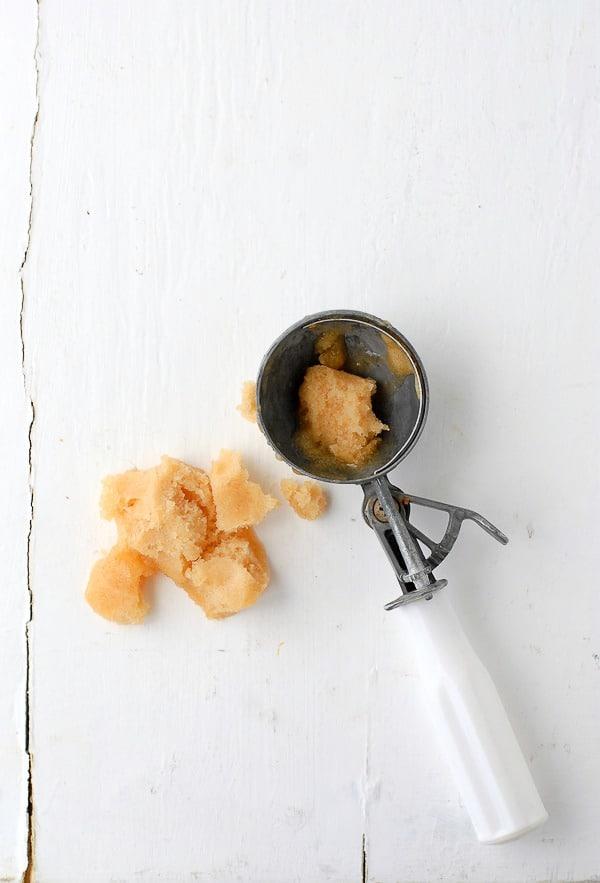 Peach-Thyme Sorbet scoop - BoulderLocavore.com