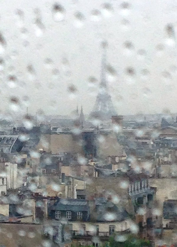 View of the Eiffel Tower from the Pompidou Center, Paris rainy day - BoulderLocavore.com