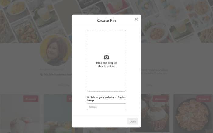 Creating a pinterest pin step 2 screenshot