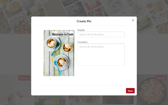 Creating a Pinterest Pin - Filling in the pin details screenshot