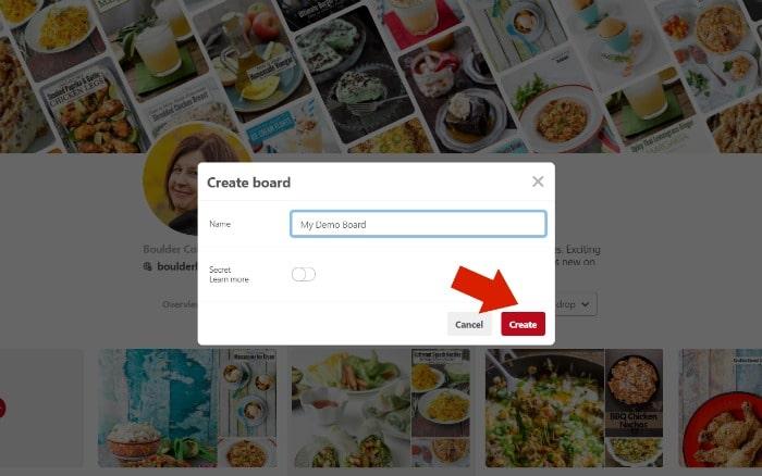 How to Create a Pinterest Board Step 2 screenshot - saving the board
