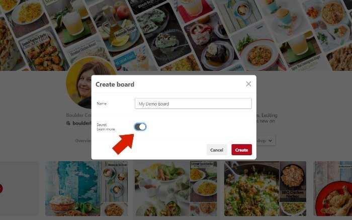 How to Create a Pinterest Board Step 3 making the board secret or public