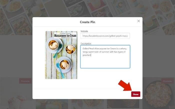Filling out Pinterest pin screenshot