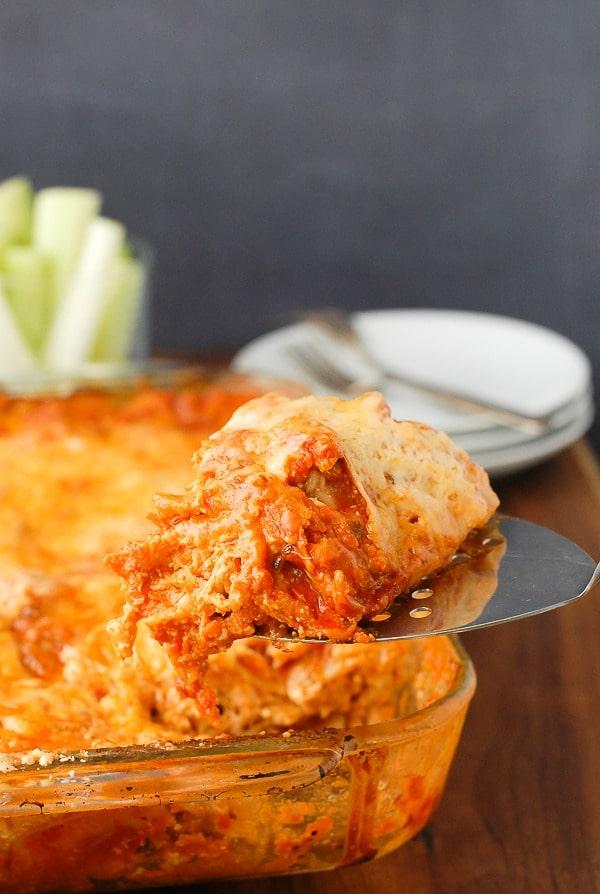 Cheesy Buffalo Chicken Lasagna gluten-free - BoulderLocavore.com