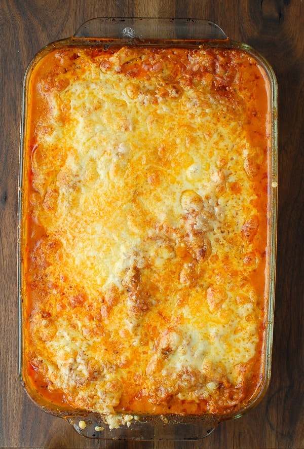 Cheesy Buffalo Chicken Lasagna pan - BoulderLocavore.com