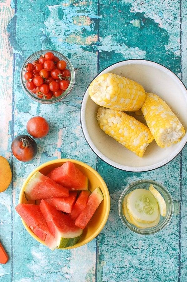 Corn, watermelon, cherry tomatoes, peaches, pork - BoulderLocavore.com