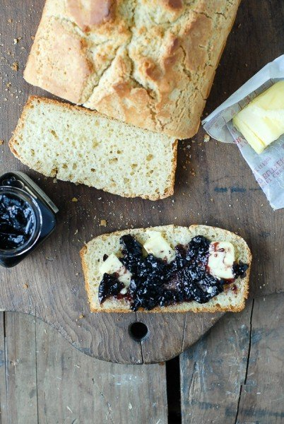 Gluten-Free Beer Bread with jam and butter - BoulderLocavore.com
