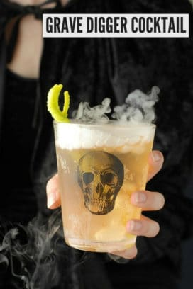 Grave Digger Cocktail in skull glass titled image