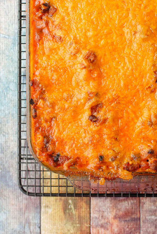 Mexican Lasagna in pan quareter