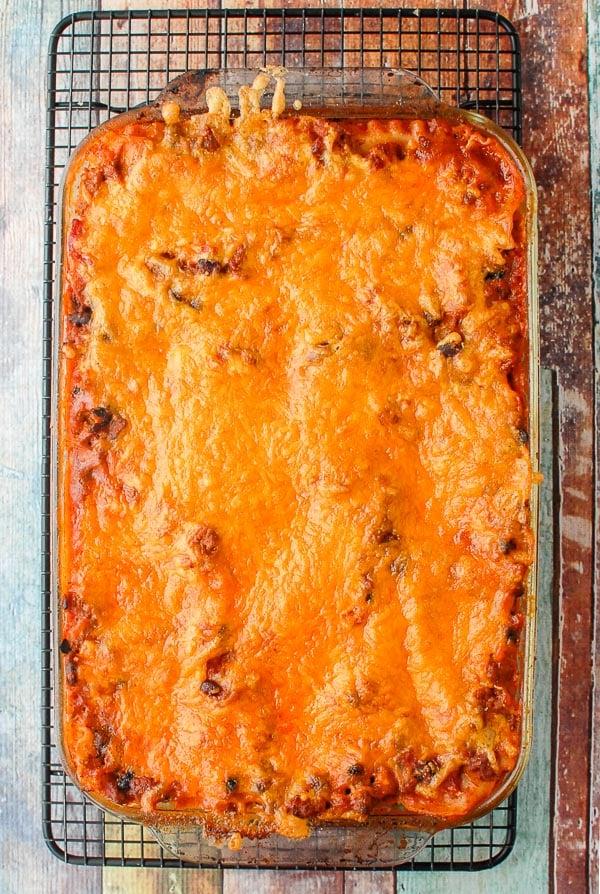 Mexican Lasagna in pan