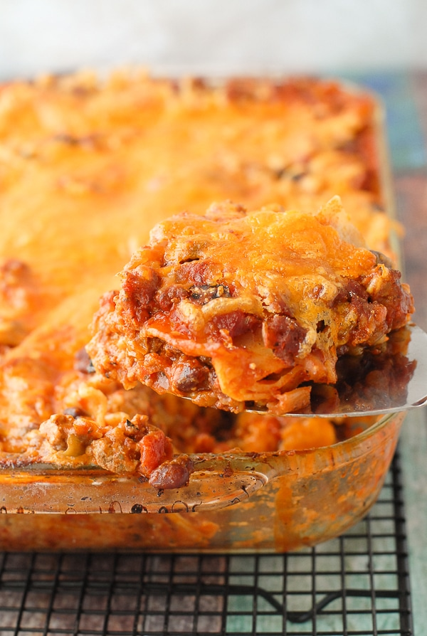 Cheesy single serving of gluten-free Mexican Lasagna with Hatch Chilies - BoulderLocavore.com