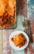 Mexican Lasagna with Hatch Chilies serving - BoulderLocavore.com