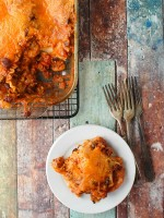 Mexican Lasagna with Hatch Chilies serving - BoulderLocavore.com