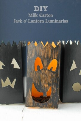 Milk Carton Jack-o-Lantern Luminarias
