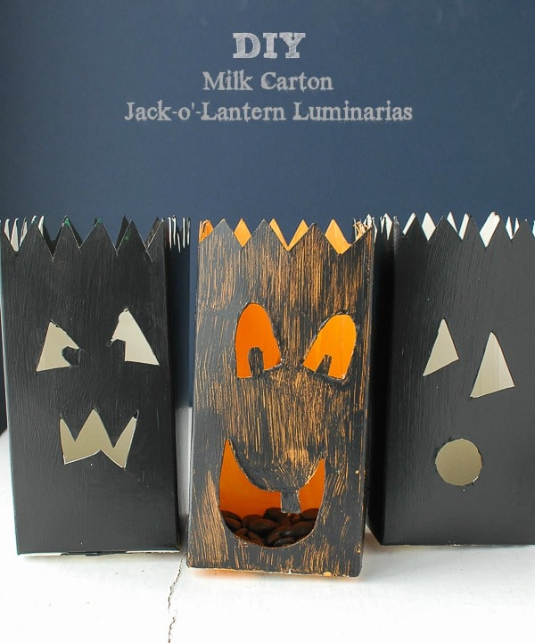 DIY Milk Carton Jack-o'-Lantern Luminarias