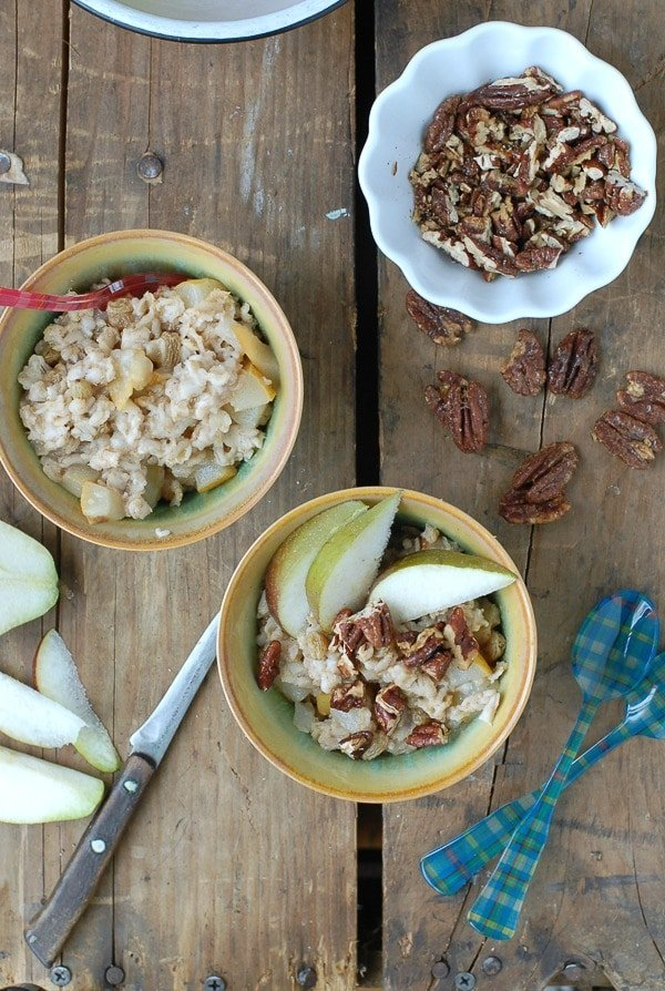 Pear-Ginger Oatmeal with Candied Maple Pecans
