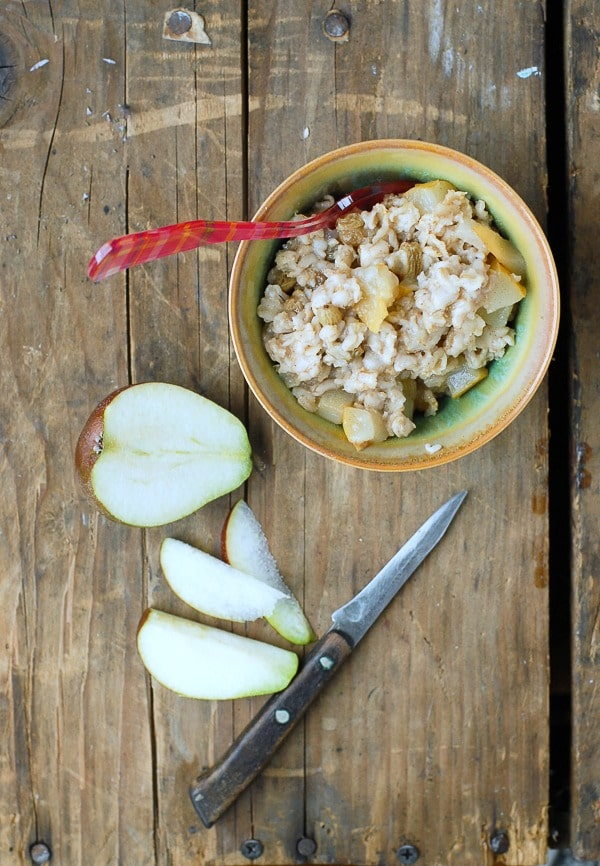 Pear-Ginger Oatmeal with Seckel Pears
