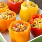 Sausage and Orzo Stuffed Sweet Peppers
