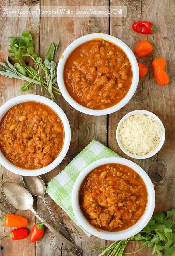 Slow Cooker Pumpkin White Bean Sausage Chili gluten free - BoulderLocavore.com