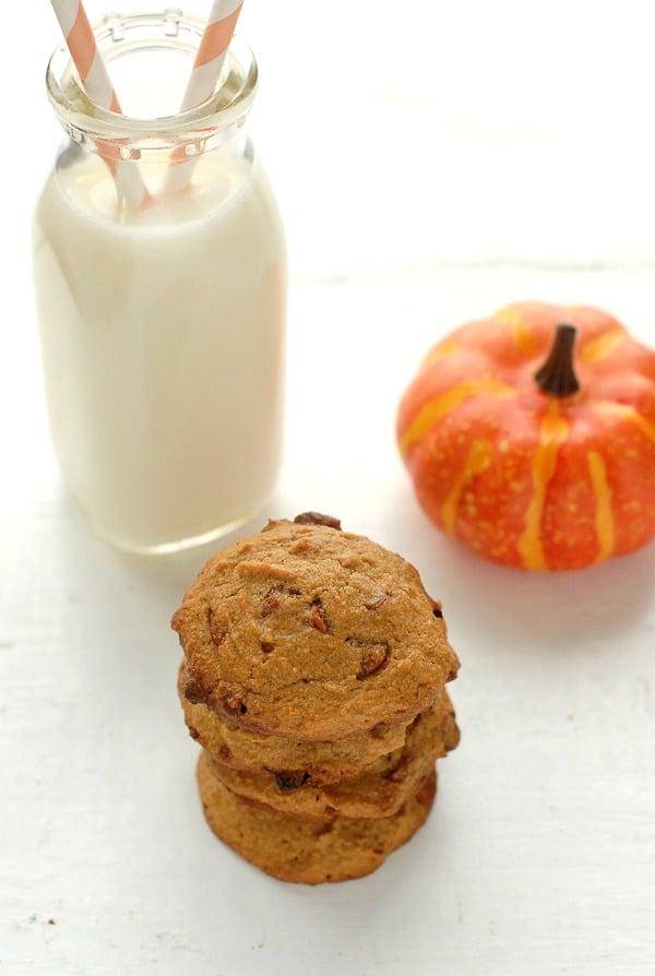 Stack of Pumpkin Spice Cinnamon Chip gluten-free cookies - BoulderLocavore.com