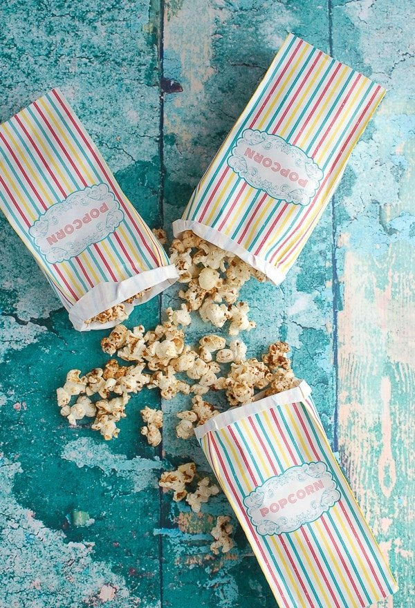 Striped Bags of Coconut Kettle Corn - BoulderLocavore.com