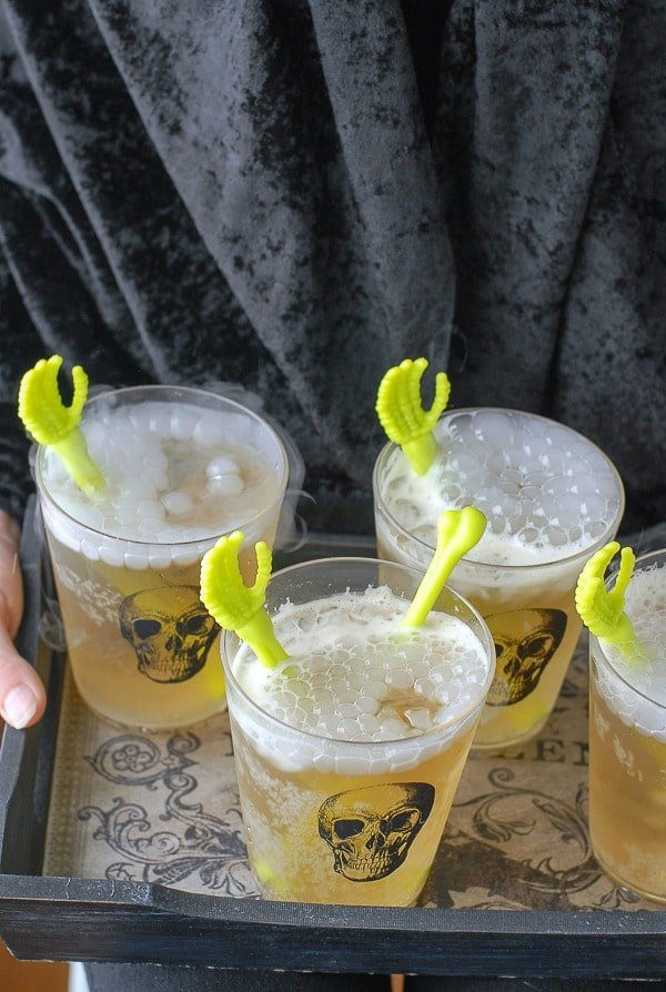 Tray of Grave Digger Cocktails #halloween | BoulderLocavore.com