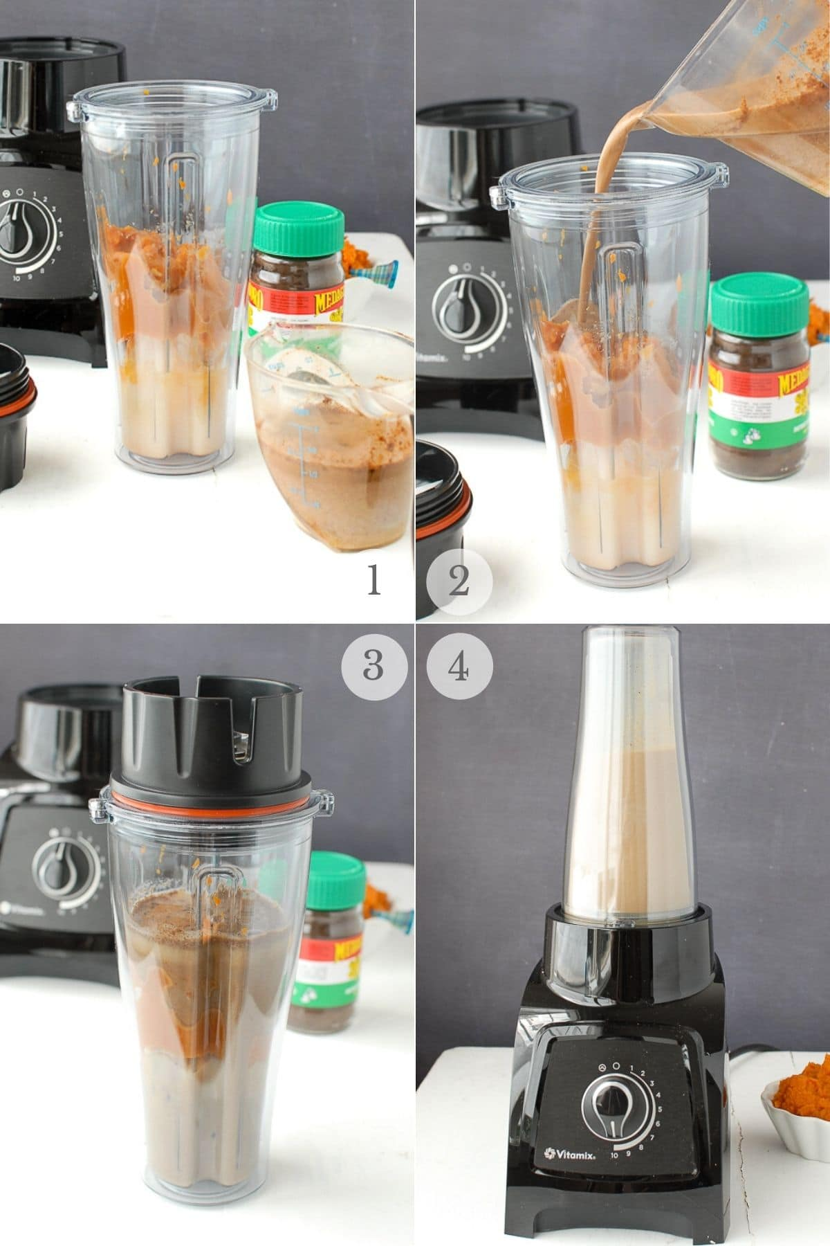 iced pumpkin spice latte recipe steps 1-4