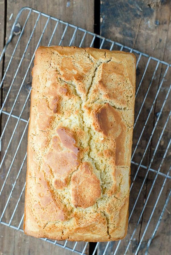loaf of beer bread on cooling rack