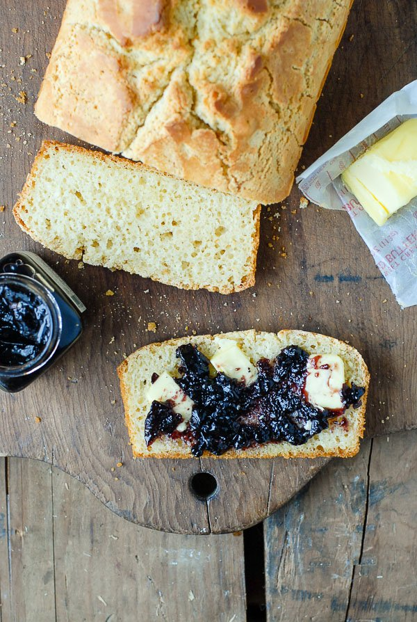 sliced beer bread with jam