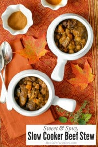 Sweet & Spicy Slow Cooker Beef Stew in white bowls (title)