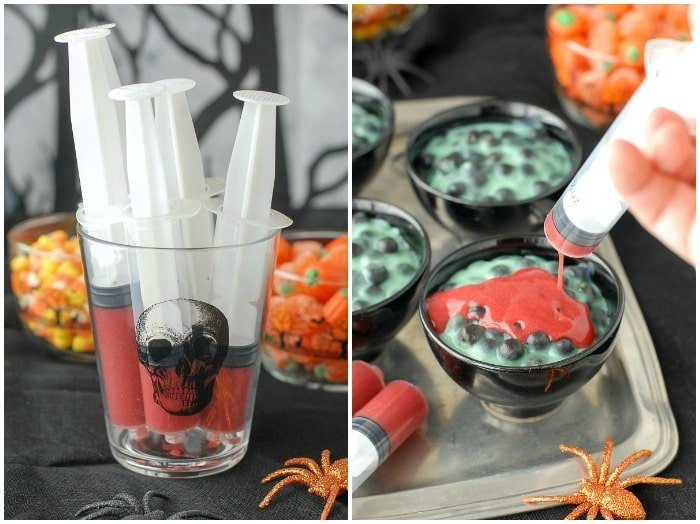 \'Blood\' syringe with Creepy Spider Egg Pudding