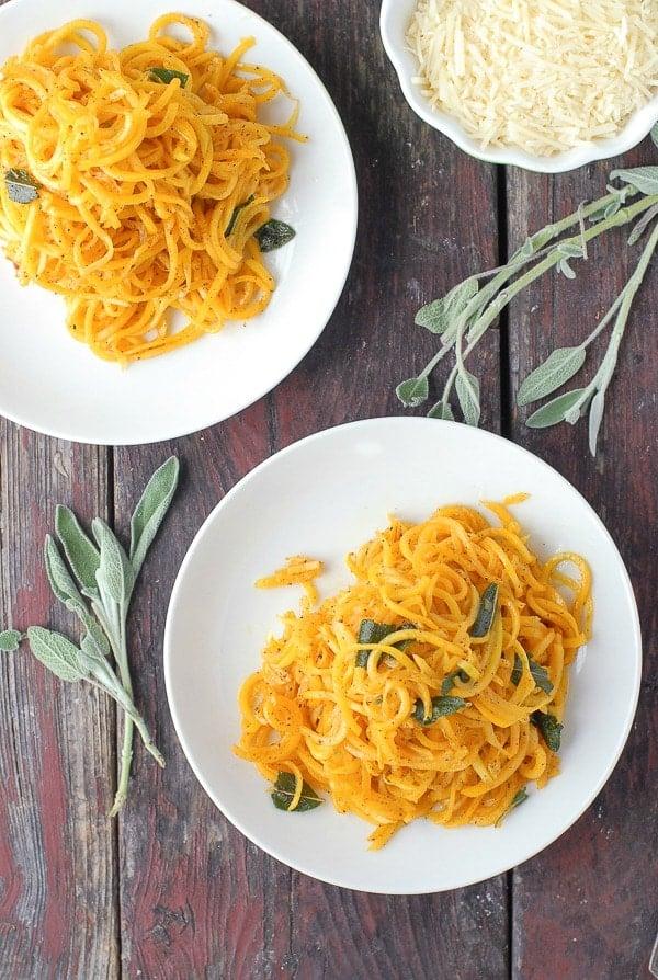 Butternut Squash Noodles in Sage Brown Butter plates - BoulderLocavore.com