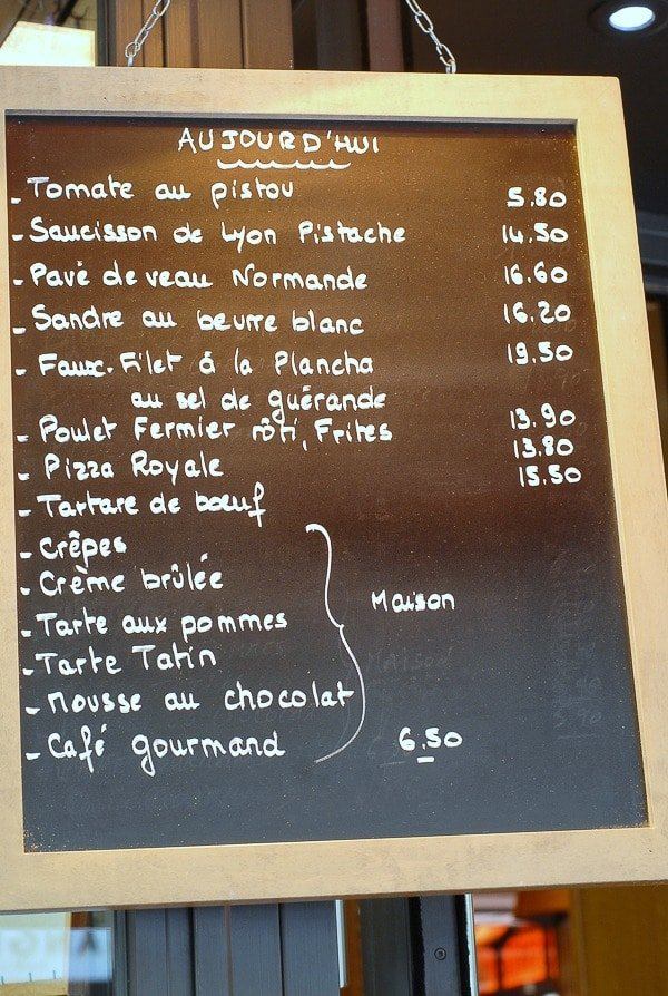 Cafe Menu  Paris -  BoulderLocavore.com