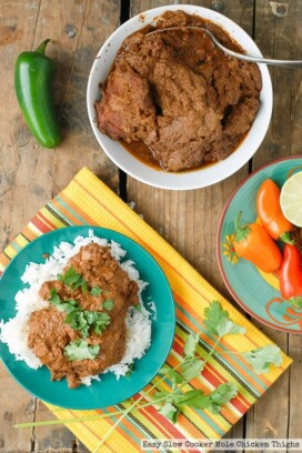 Easy Slow Cooker Mole Chicken Thighs with rice