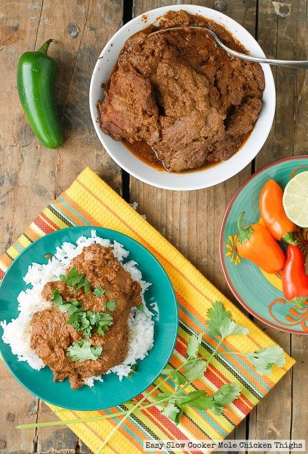 Easy Slow Cooker Mole Chicken Thighs - BoulderLocavore.com