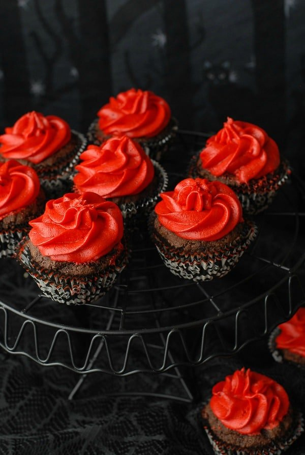 Red Devil Cupcakes {gluten-free Devil's Food cupcakes with Red Hots Cinnamon Buttercream Frosting} | BoulderLocavore.com