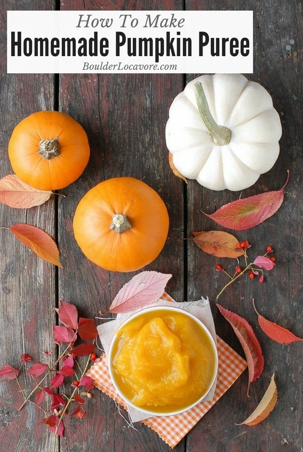 Making Homemade Pumpkin Puree is easy and delicious! Use it in sweet and savory pumpkin recipes all season long. It's easy to freeze (instructions included) so you'll have it any time you want it! #pumpkin #pumpkinpuree #Thanksgiving #howto #easyrecipe #squash #tutorial #recipe #easyrecipe #BoulderLocavore #Thanksgivingrecipes