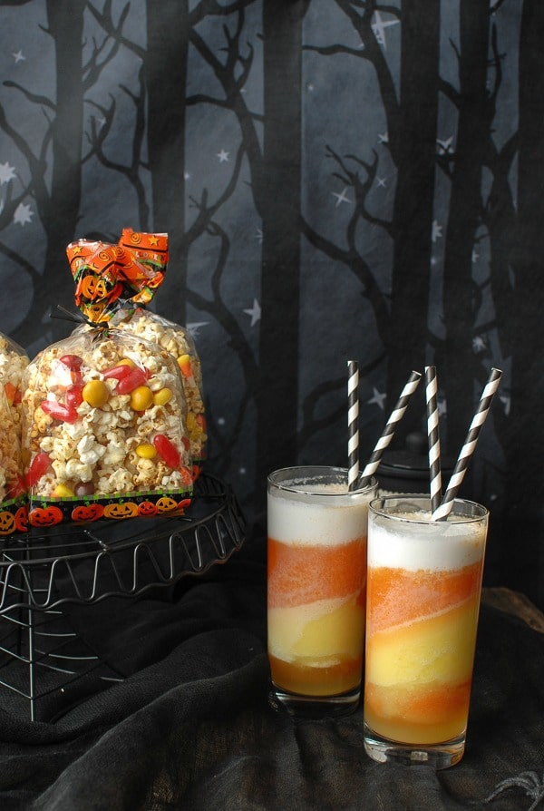 Orange-flavored Kettle Corn Halloween Treat Mix and Tropical Candy Corn Smoothies - BoulderLocavore.com