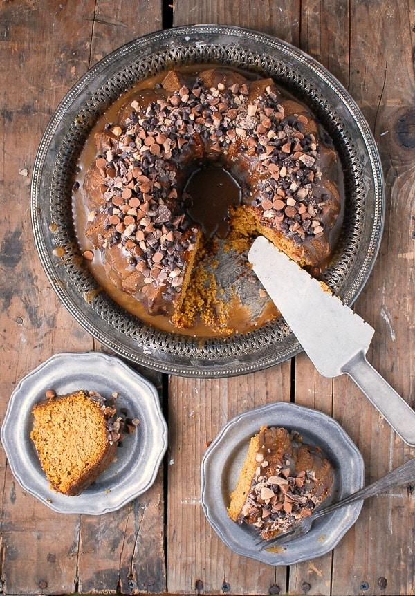 Pumpkin Spice Buttermilk Bundt Cake with Dark Salted Caramel Glaze ...