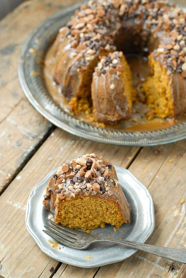 Pumpkin Spice Buttermilk Bundt Cake with Dark Salted Caramel Glaze slice - BoulderLocavore.com 297p