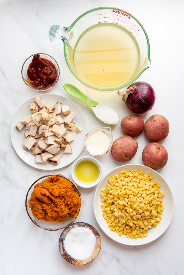 Ingredients for Slow Cooker Spicy Pumpkin Chicken Corn Chowder