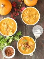 Slow Cooker Spicy Pumpkin Chicken Corn Chowder - BoulderLocavore.com.