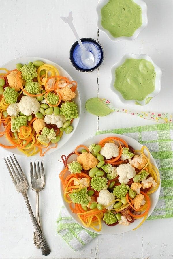 Spiralized Carrot Salad with Romanesco, Cauliflower, Edamame and Buttermilk-Green Goddess Dressing -  BoulderLocavore.com